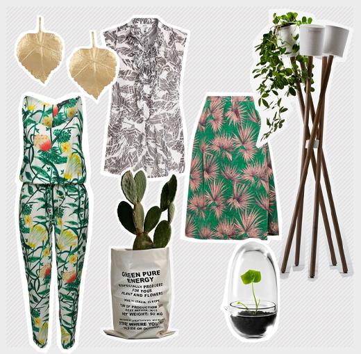 Mode mit Botanik-Motiven und Pflanzentöpfe online bestellen, Onlineshop, Frühling 2015, Blätter-Print
