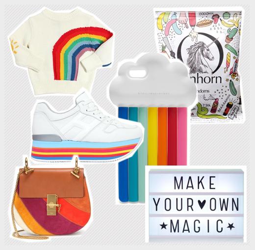 Regenbogen und Einhörner in Mode, als Druck, Schuhe, Wohnaccessoires, Spielsachen und Kram