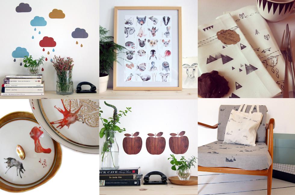 Wohnaccessoires und DIY-Sets mit Illustrationen von Nukk online bestellen, Onlineshop, handmade