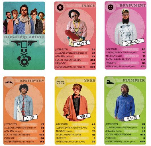 Das Hipster Quartett von Normal Media aus Berlin mit 32 Spielkarten