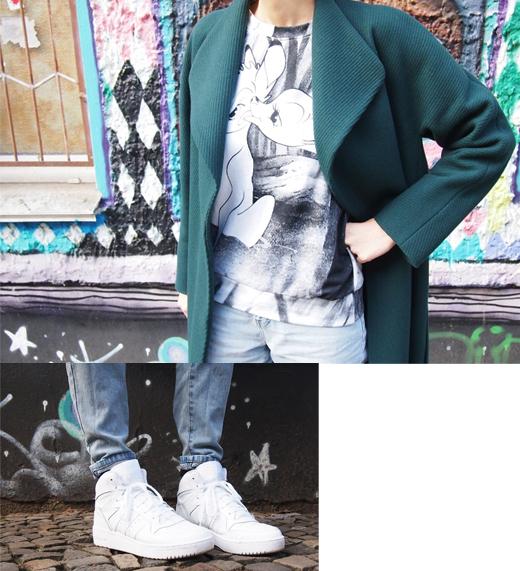 Outfit Styling mit Salon Stylistin - Mantel von Hugo Boss, Jeans von Cheap Monday und Sneakers in Weiß von Adidas