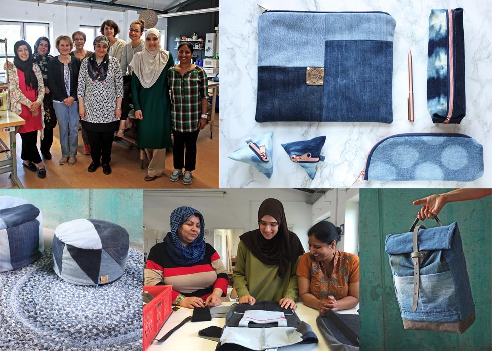 Modelabel Bridge&Tunnel hilft Flüchtlingen und Frauen mit Migrationshintergrund und näht Taschen und Rucksäcke aus alten Jeans Stoffen