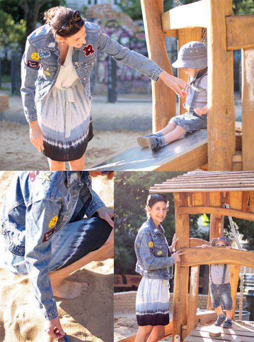 Styling -Outfit mit Jeansjacken mit Flicken und Aufnähern und Sommerkleid im Batiklook von Cream