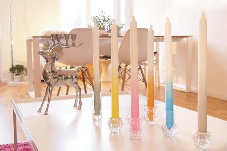 Gradient Candles von Mo Man Tai - Ulrike Jurklies - getauchte Kerzen handgemacht mit Farbverlauf in Pastell und Neon