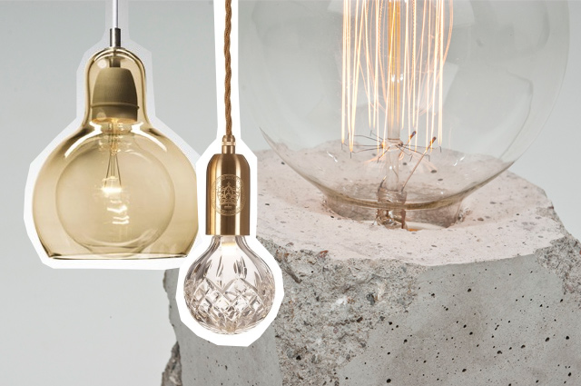 Hängeleuchten und Tischlampen mit Glühbirne, Edison Lampe und Fassung in Beton oder Marmor als Wohntrend 2015, online bestellen