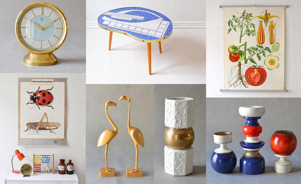 Designklassiker der 50er und 60er Jahre und Vintage Möbel online kaufen bei Might Vintage, Blumenbank, alte Schulkarte, Blumenvase, Kerzenständer