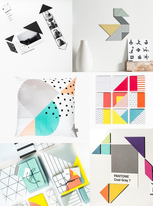 Tangram Magnete, Kissen, Geschenkpapier, Wohnaccessoires und Mode von Nice Nice Nice