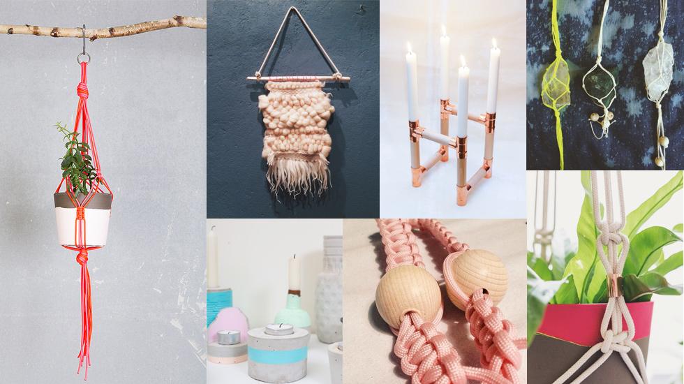 Wandbehang, Kerzenständer aus Kupferrohr und Blumenampel von Studio hammel, diy, blumenhänger, wallhanger
