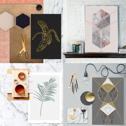 Print und Poster mit Collage und Illustration von vontrueba - Trend Marmor und Blätter, Pflanzen und Banane