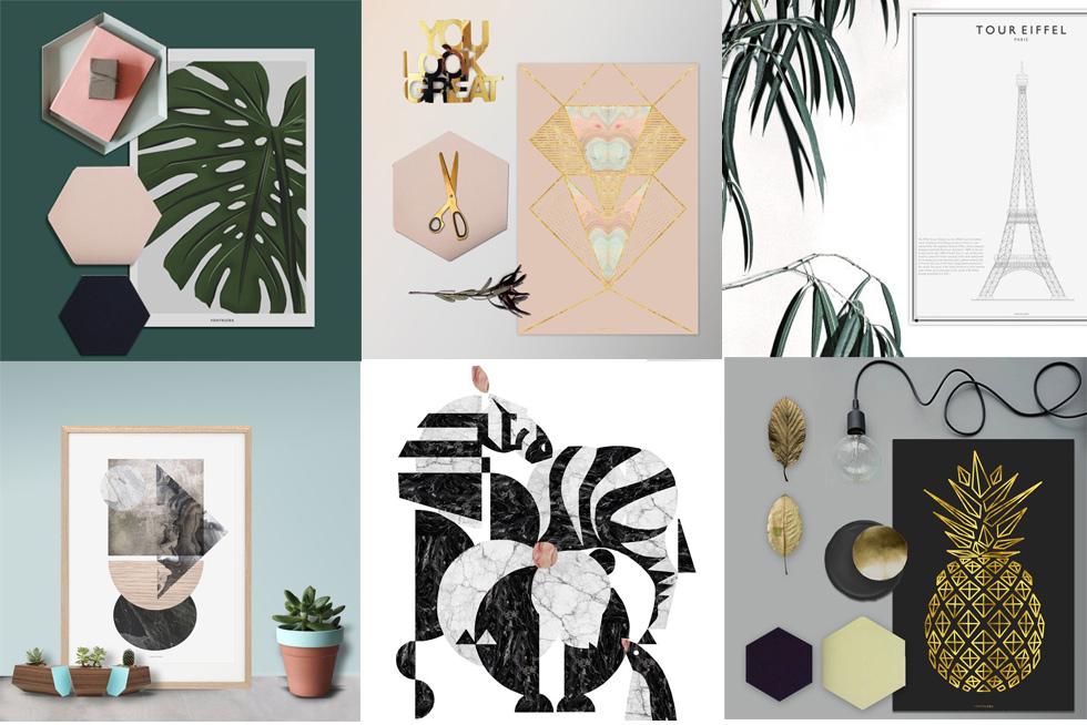 Poster und Prints von vontrueba online bestellen mit Interior Trend Mamor, Ananas und Exotik, Collage,Illustration