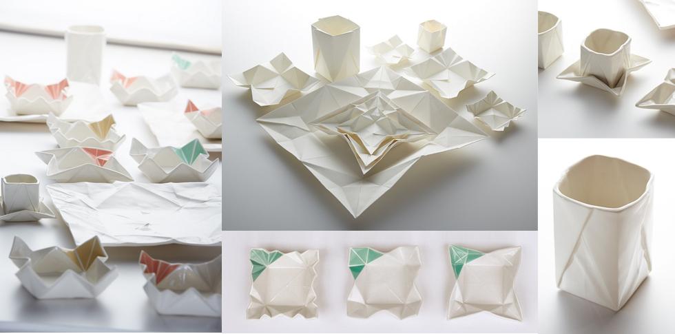 moij design mit Porzellangeschirr in Weiß im Origami Look , Keramik, online bestellen