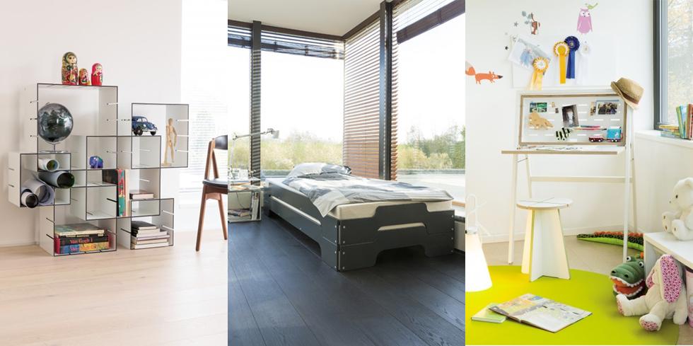 Möbel von Müller Möbelwerkstätten - Regalsystem Konnex, Stapelliege in Grau und Sekretär Hidesk online bestellen, möbel, design, klassiker
