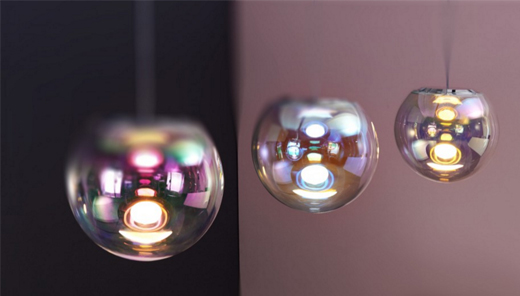 Pendelleuchte IRIS von Sebastian Scherer mit dem Label NEO/CRAFT, Kugellampe, seifenblase, schimmer, effekt