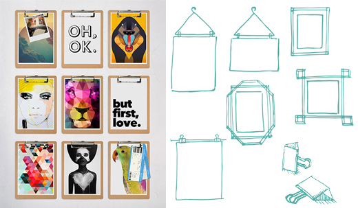 Alternativen, um Bilder und Poster aufzuhängen, mit Kleiderbügeln, Tape, Clips oder Haken