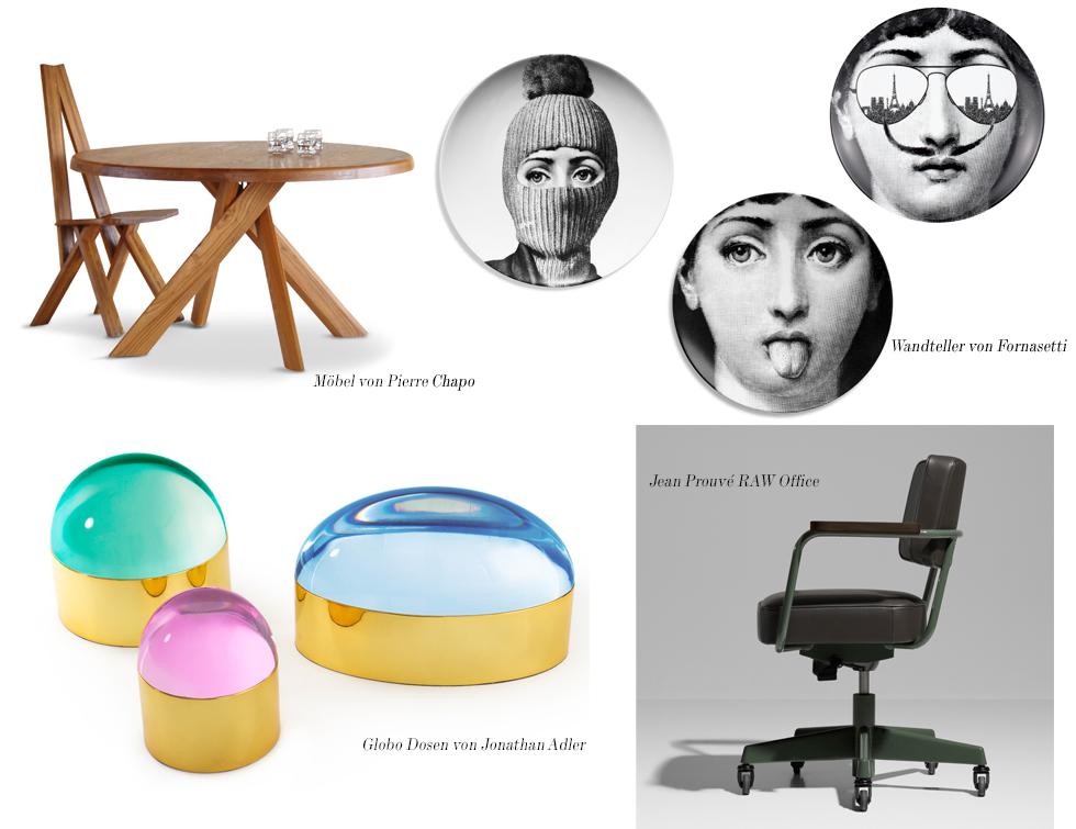 Möbel von Pierre Chapo, Sammelteller von Fornasetti, Globo Dosen von Jonathan Adler und die Raw Office Kollektion von Jean Prouvé