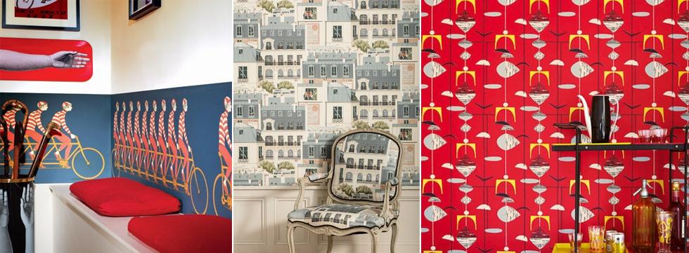 Englische Vintage und Retro Tapete mit Muster von Pflanzen und Tieren