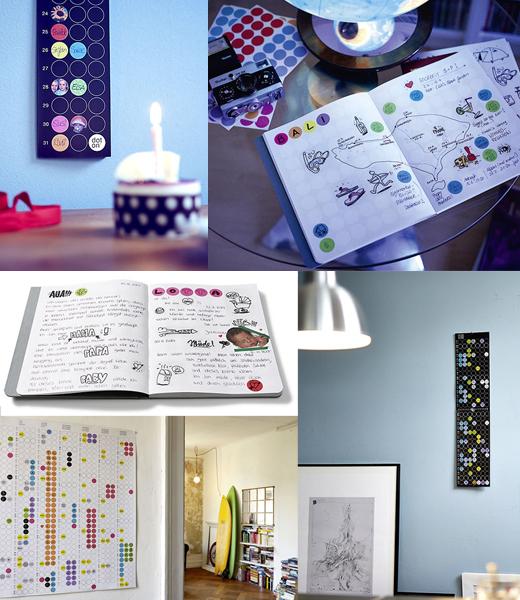 Jahresplaner, Geburtstagskalender, Notizbücher mit Klebepunkten von dotty edition Jahresplaner, Geburtstagskalender, Notizbücher mit Klebepunkten von dotty edition