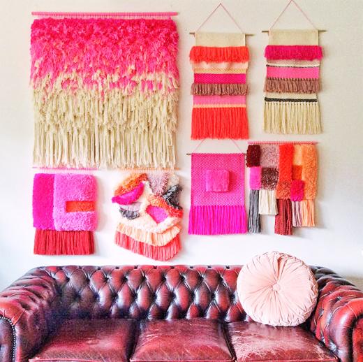 Wandteppiche, Wallhängings und Wanddecoration aus Wolle von Jujujust in Pink als Wanddecoration - DIY