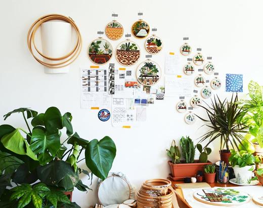 Stickereien und Embroidery von Sarah K Benning mit Pflanzen und botanischen Motiven mit DIY Tutorials