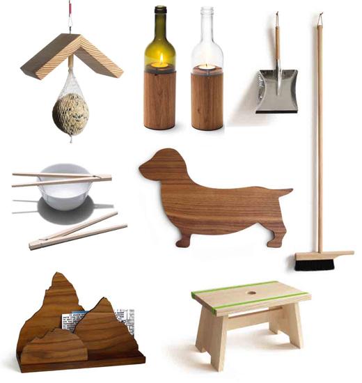 Designprodukte für Küche und Alltag aus Holz, gefertigt in Behindertenwerkstätten der Caritas, side by side