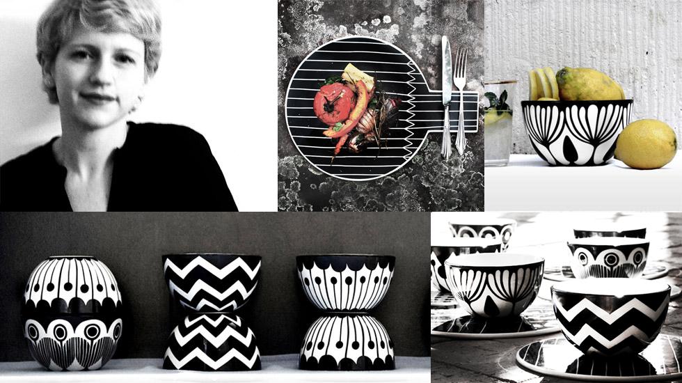 Porzellan Schalen und Teller mit Muster in Schwarz Weiß von Anna Becker, frjor, handgemacht, online bestellen