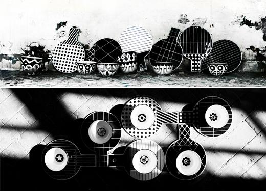 Porzellan Schalen und Teller mit Muster in Schwaz Weiss von Anna Becker von frjor