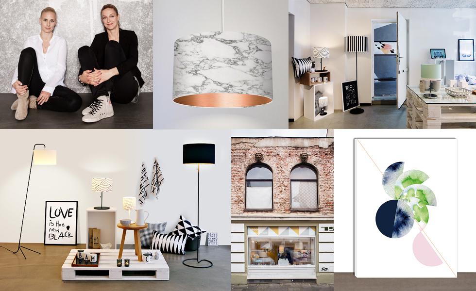 Droom in Köln, Lampen, Wohnaccessoires und Möbel individuell mit Mustern bedrucken, Gründerinnen Ann Karnstedt und Katja Schüssle, Digitaldruck, Print