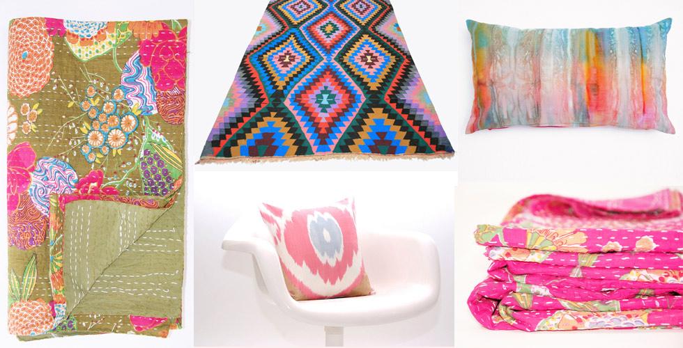 Decken und Kissen mit Blumenmuster und Batik im Vintage - und Ethno-Style von Atmosphärisch online besetellen