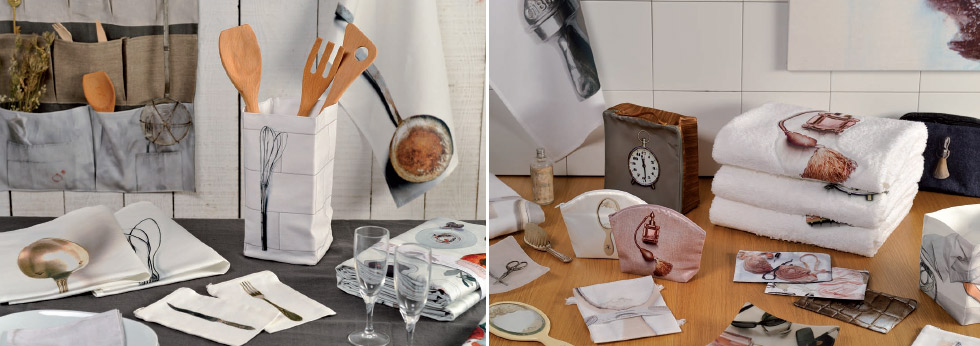 Daycollection Heimtextilien, Wohnaccessoires mit trompe l´œil Druck auf Tischdecken, Handtüchern, Servietten und Bettwäsche