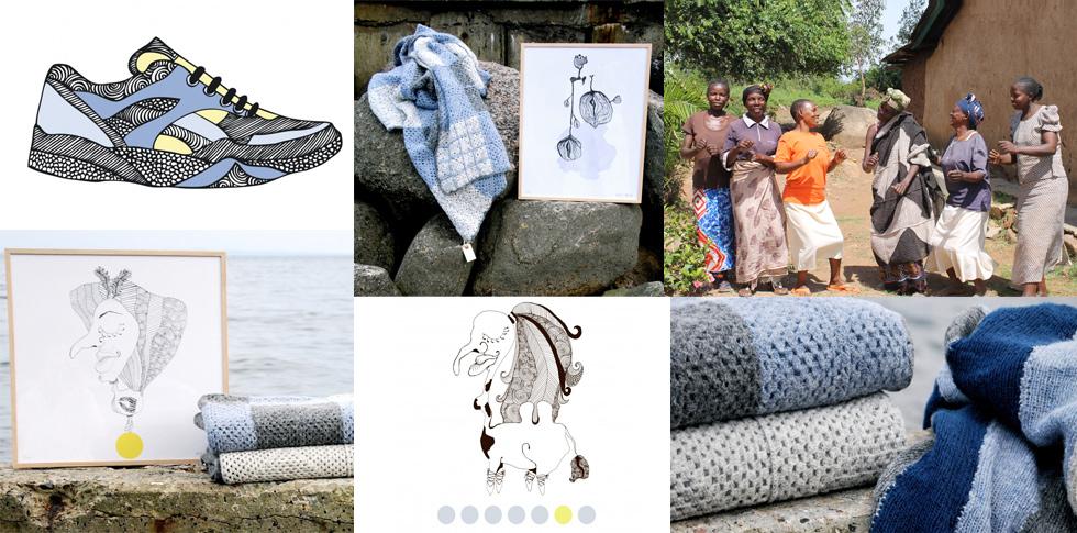 Skandinavisches Interiorlabel norden denmark mit Wohnaccessoires, Wolldecken, Illaurationen und Poster, fairtrade, afrika
