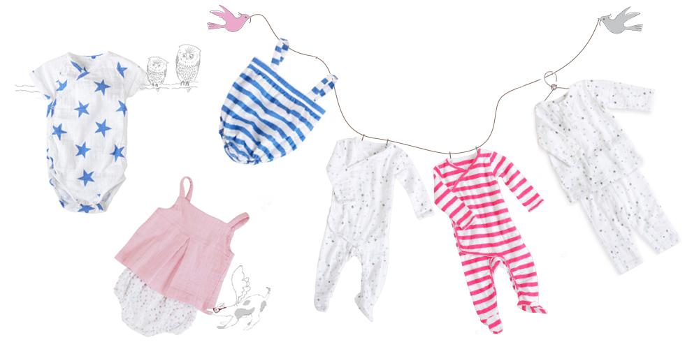 Neue Baby-Kollektion mit Sternen und Streifen von aden+anais mit Strampler, Bodys, Einteiler, Pumphosen aus Baumwoll Musselin