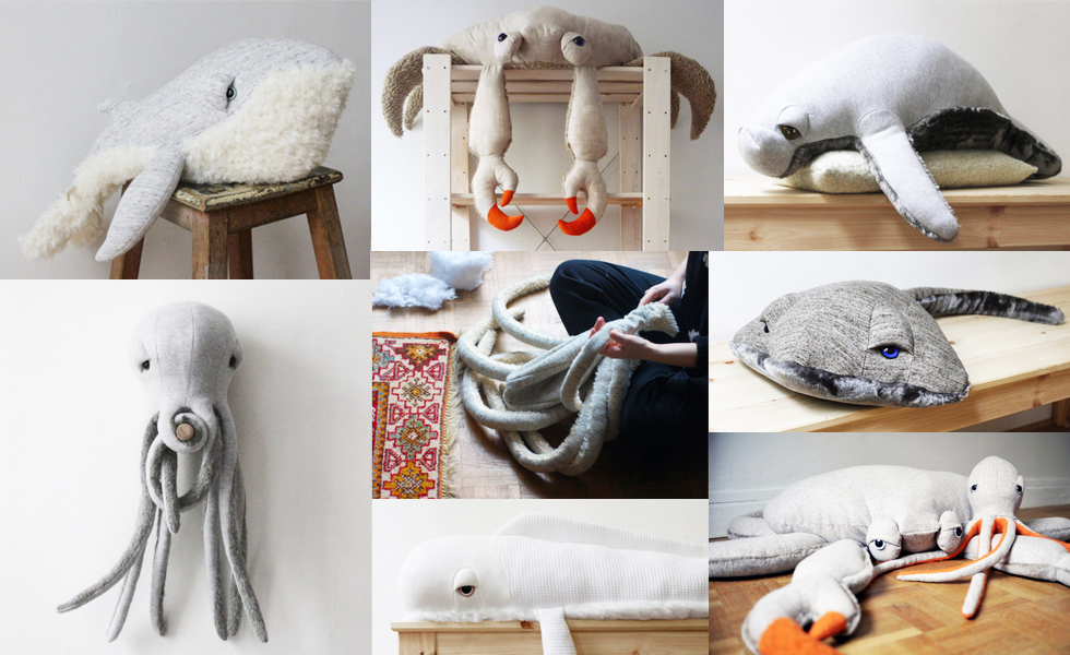 Oktopus und Wale als Stofftiere von Big Stiffed Designerin Dana Muskat online bei Etsy bestellen