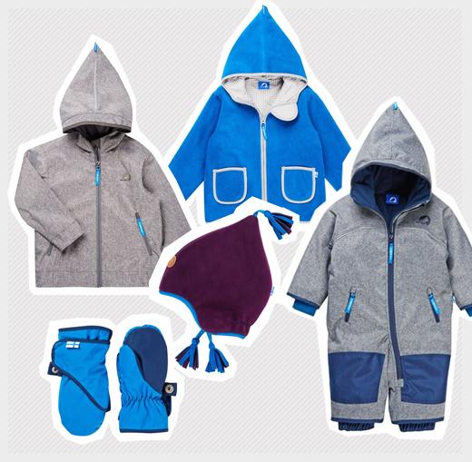 Kindermode von finkid mit Overall, Fleecemütze, Handschuhe und den Jacken TONNTU und TUULIS
