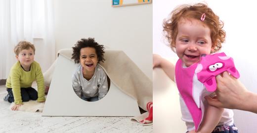 Spielzeug und Möbel aus Holz für Kinder von Julica - Tisch und Lätzchen