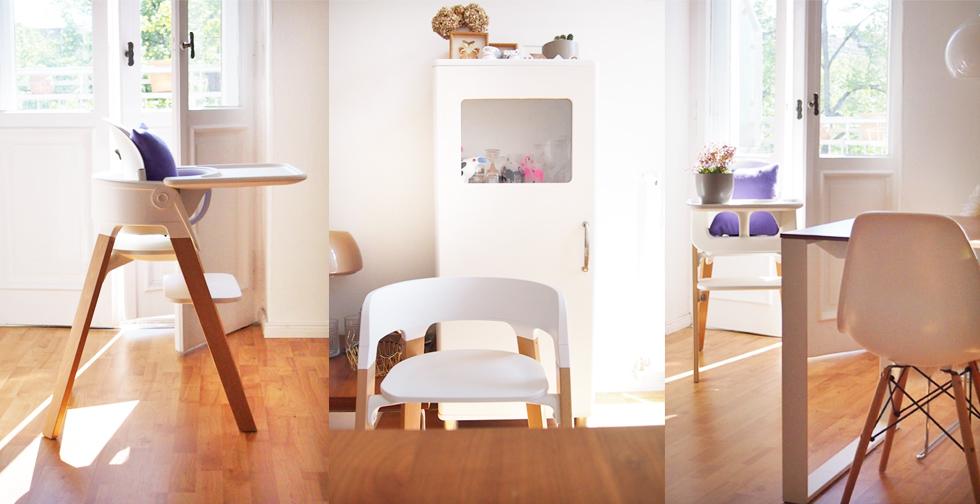 Stokke Steps Kinderstuhl in Weiß und Eames Chair online bestellen, Hochstuhl, Empfehlung, Designtuhl, Designkinderstuhl