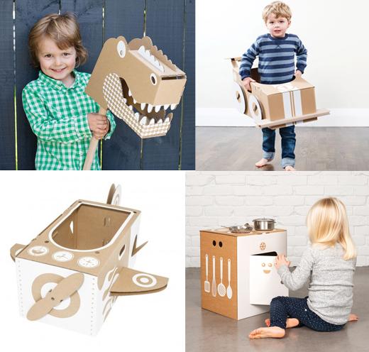 Flatout Frankie - Spielzeug aus Pappe, Steckenpferd Drache, Auto, Flugzeug und Kinderküche aus Pappe