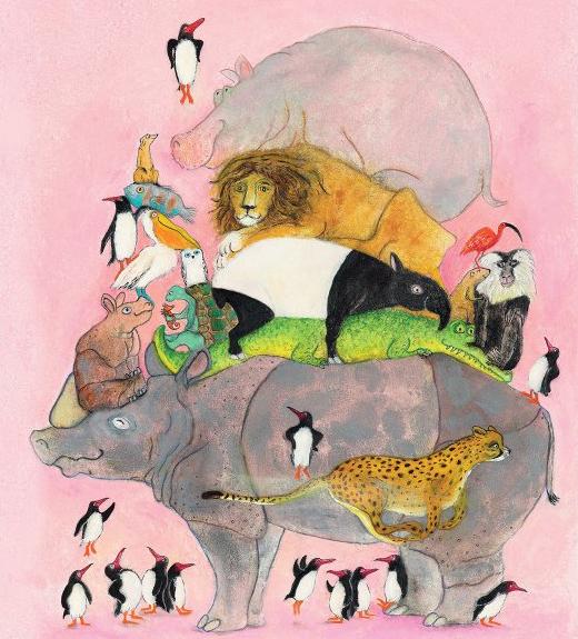 Fototapete für Kinderzimmer mit Illustration von Kek Amsterdam, Tiere