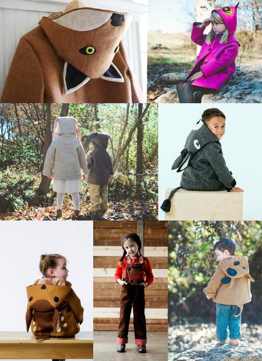 Jacken und Mäntel für Kinder aus Wolle und Filz mit Tier-Kapuzen von Little Godall
