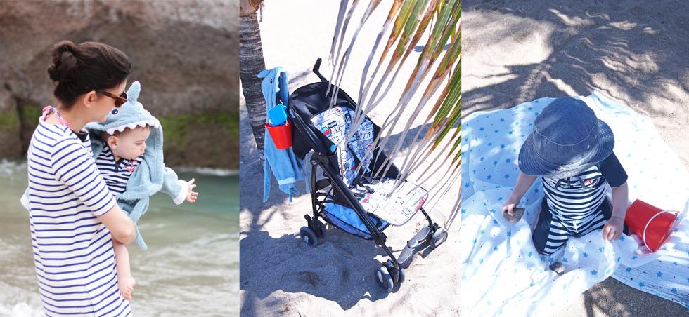 Urlaub mit Kind, was nimmt man mit? Die Strandmusche, Bademantel, Schwimmanzugmit UV Schutz und Reisebuggy, tipps, empfehlungen