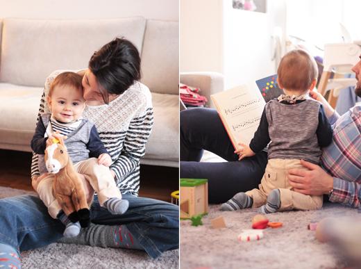 Kindermode von s.Oliver und Styling für Mama mit Culottes aus Jeans und Oberteil aus Spitze