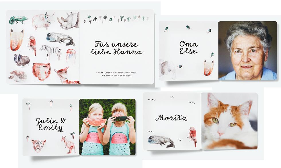 kleine prints fotobuch selbst gestalten für kinder und babys, mit illustrationen von Gretas Schwester