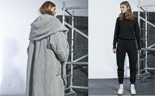 Winterkollektion von TVORTZ aus Kiew mit Wintermäntel in Grau in XXL und Home Wear und Jogginghosen aus Strick, online bestellen