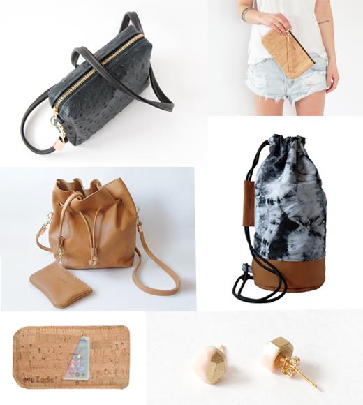 Taschen, Accessoires und Schmuck von eve & adis, Ledertasche in Schwarz, Bucket Bag, Accessoires in Kork