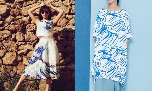 Purple Fishbowl - Kleid mit Druck, Die große Welle von Kanagawa