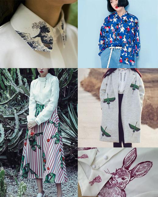 Purple Fishbowl, Mode aus Asien mit Kleidern und Blusen aus Seide und Prints, Drucke