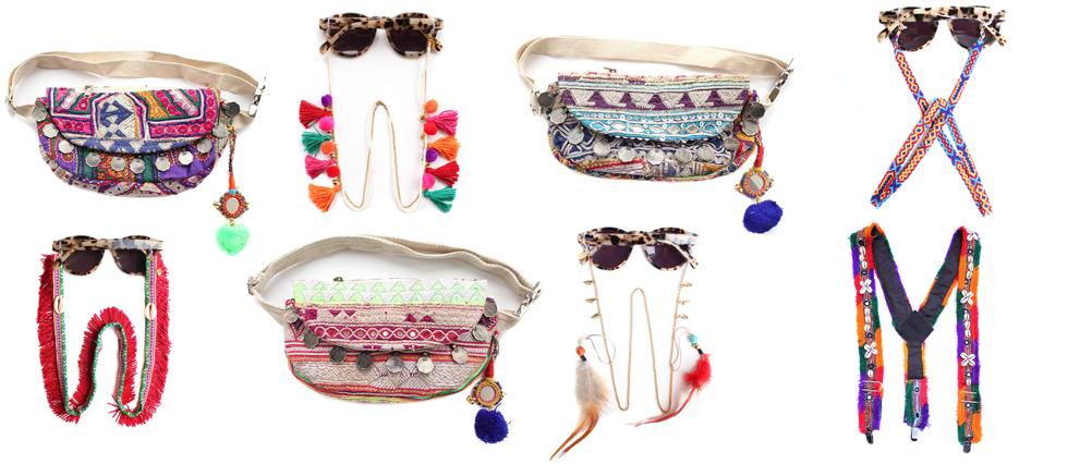 Festival Styling - Brillenketten und Hüfttaschen von Coco Bonito im Ethno Look