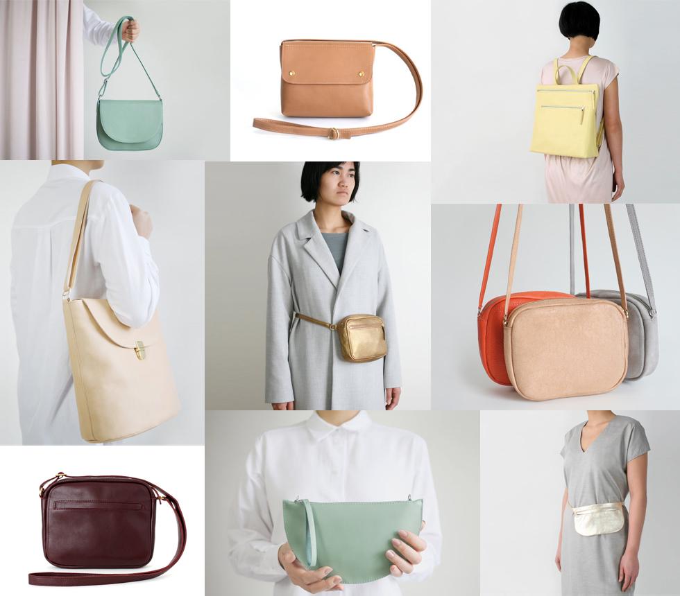 Handtaschen, Umhängetaschen, Shopper, Rucksäcke und Gürteltaschen aus Leder in Handarbeit von alexbender Berlin, minimalistisch, schlicht, clean, basic