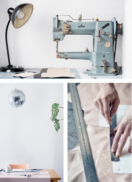 Ledertaschen von alexbender, Handarbeit im Atelier in Berlin