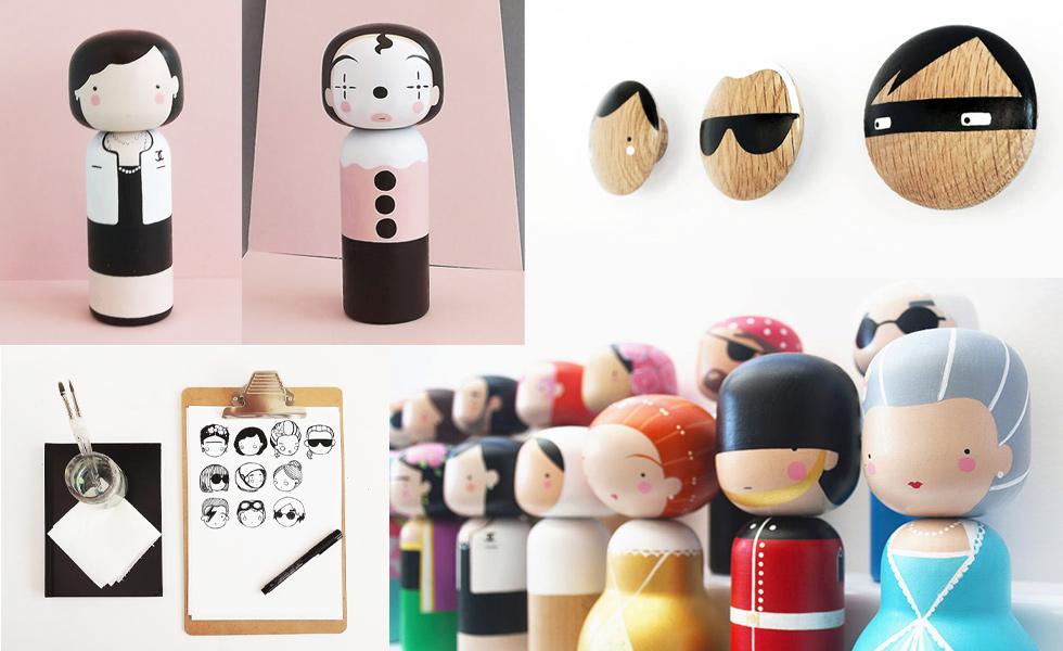 Sketch Inc. -bemalte Kokeshi Puppen aus Holz von Becky Kemp , lagerfeld, wintour, diy