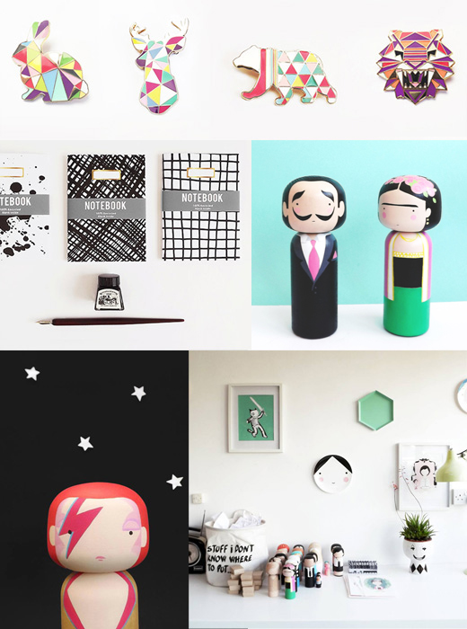 Holzfiguren, Broschen und Deko von Sketch.inc über Etsy online bestellen, Illustration, Grafikdesign, Japan, Kokeshi, Skandinavien, Becky Kemps, Kinderzimmer, Onlineshop